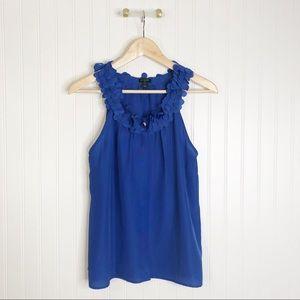 Jcrew blue ruffle neck sleeveless blouse Large